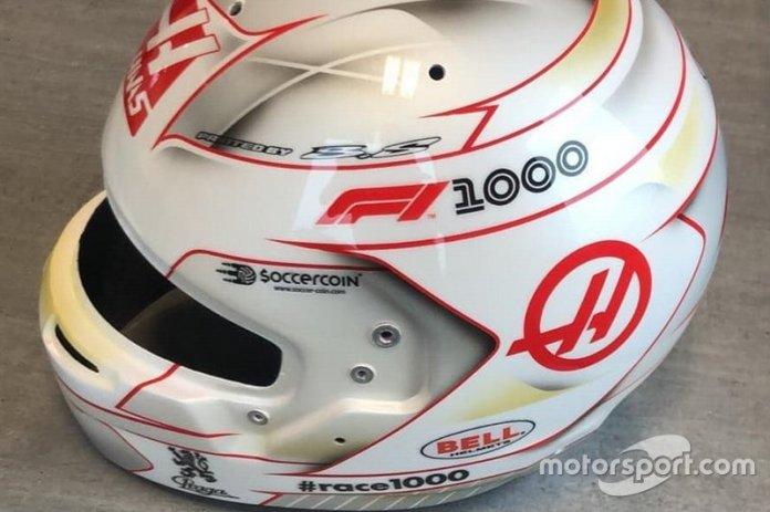 Casco de Romain Grosjean, Haas F1 Team, para el GP de China