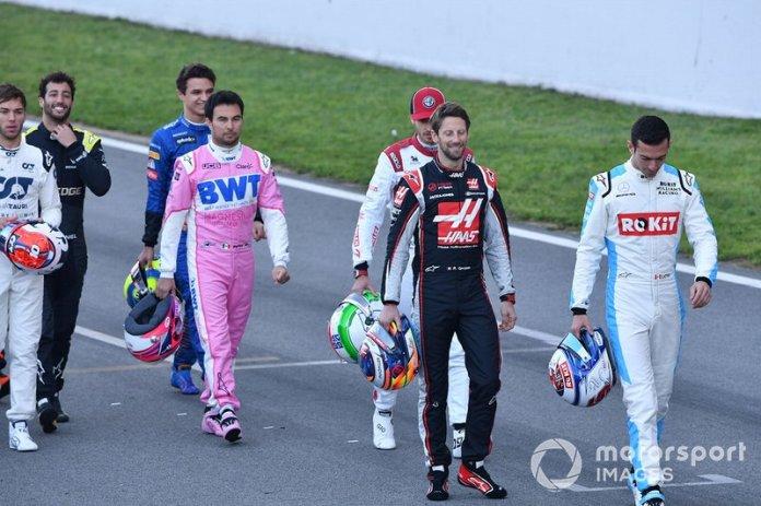 Sergio Pérez, Racing Point, Romain Grosjean, Haas F1 y Nicholas Latifi, Williams Racing