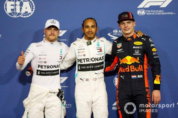 Top 3 después de la calificación, Lewis Hamilton, Mercedes AMG F1, Valtteri Bottas, Mercedes AMG F1 y Max Verstappen, Red Bull Racing