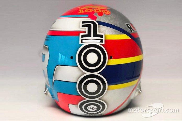 El casco de George Russell, Williams FW42, para el GP de China