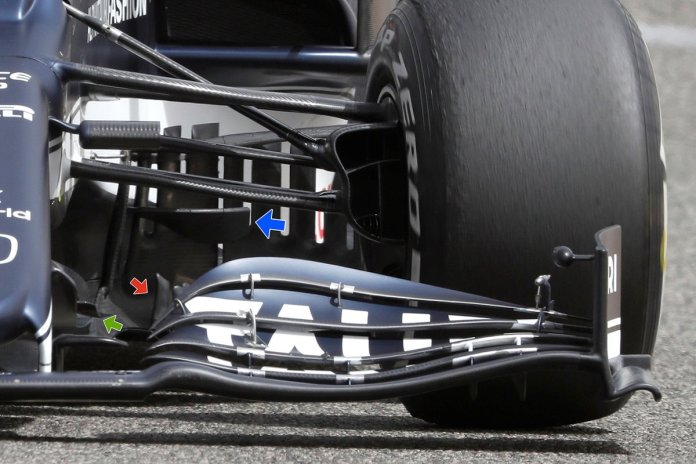 AlphaTauri AT02 bargeboard and turning vanes detail
