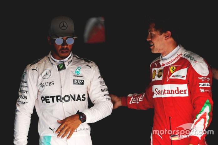 Hamilton, impasible ante Sebastian Vettel en Italia 2016