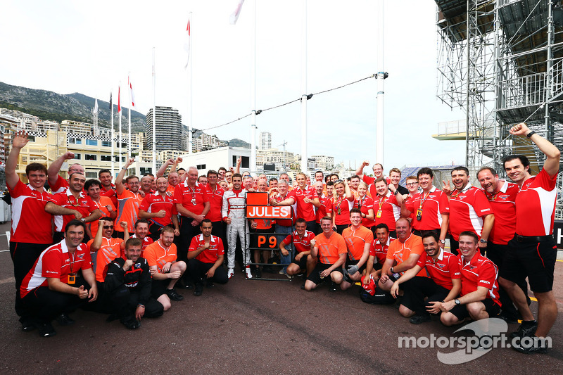 Jules Bianchi, and the Marussia F1 Team celebrate his and the team's first ever F1 points with his ninth place finish