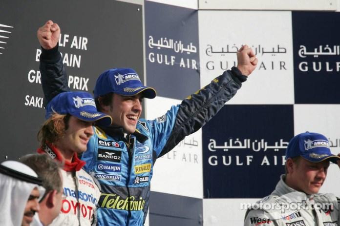 12- Fernando Alonso, 1º en el GP de Bahrein 2005 con Renault