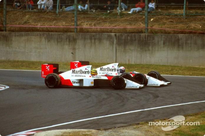 El choque de Ayrton Senna y Alain Prost en la vuelta 46