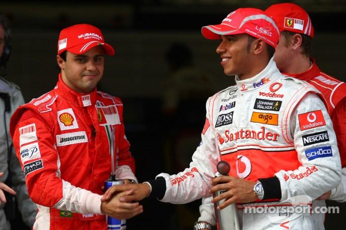 Lewis Hamilton y Felipe Massa en el GP de China 2008