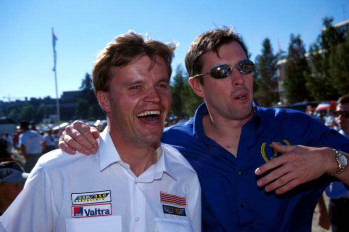 Sainz was Makinen's closest challenger for much of the year, but two late season wins for McRae (right) put him a distant second in the points