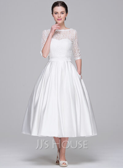 BallGown Sweetheart TeaLength Satin Wedding Dress With