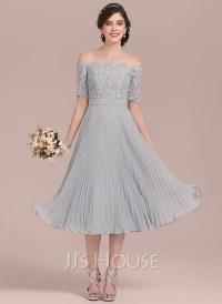 A-Line/Princess Off-the-Shoulder Tea-Length Chiffon Lace ...