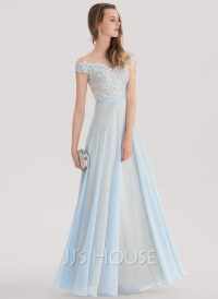 A-Line/Princess Off-the-Shoulder Floor-Length Chiffon Prom ...