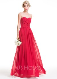 A-Line/Princess Sweetheart Floor-Length Chiffon Bridesmaid ...