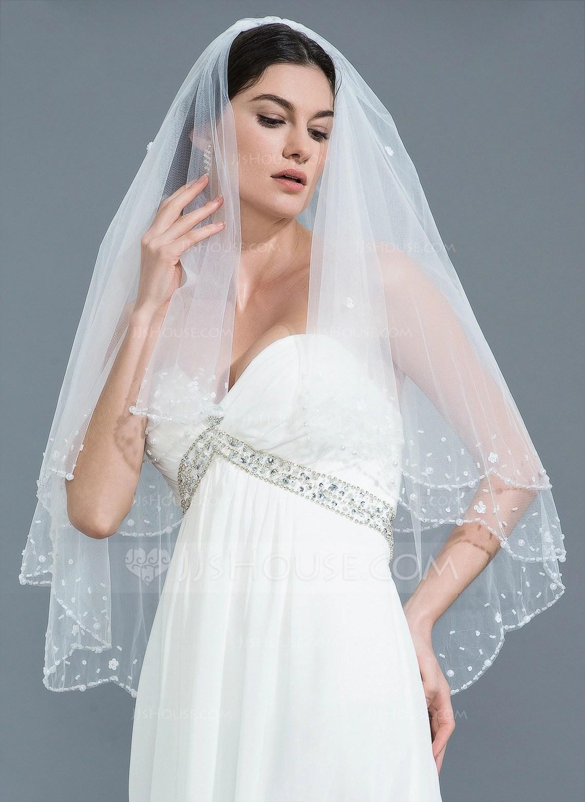 Twotier Beaded Edge Fingertip Bridal Veils With Beading 006109871  Wedding Veils  JJsHouse
