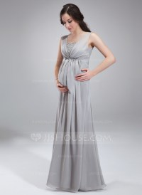 Empire Square Neckline Floor-Length Chiffon Maternity ...