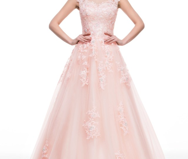 ab54188a226 Ball Gown Scoop Neck Floor Length Tulle Prom Dresses With Beading Appliques  Lace Sequins Loading Zoom
