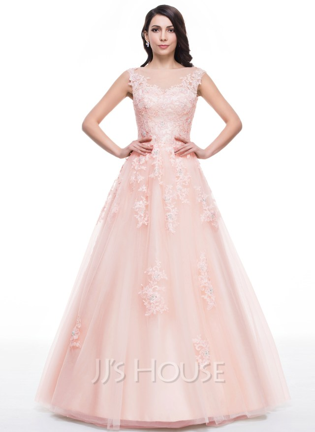 3049f87910 Ball Gown Scoop Neck Floor Length Tulle Prom Dresses With Beading Appliques  Lace Sequins Loading Zoom