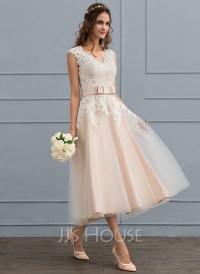 A-Line/Princess V-neck Tea-Length Tulle Wedding Dress With ...