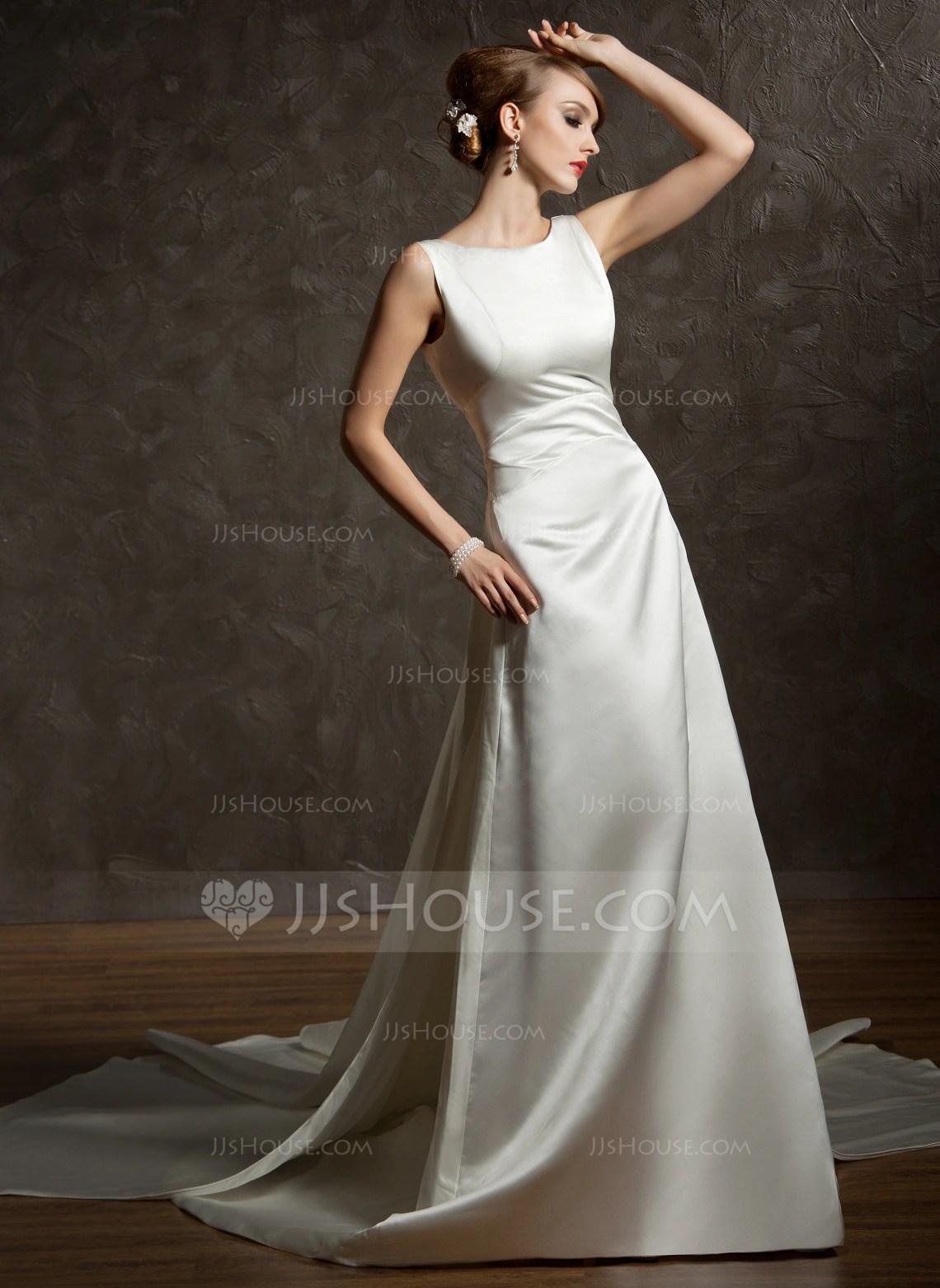 ALinePrincess Scoop Neck Watteau Train Satin Wedding Dress With Ruffle 002012755  Wedding