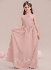 A-Line/Princess Scoop Neck Floor-Length Chiffon Junior ...