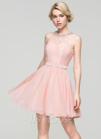 A-Line/Princess Scoop Neck Short/Mini Chiffon Homecoming ...