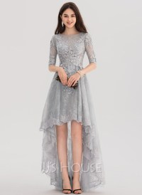 A-Line/Princess Scoop Neck Asymmetrical Tulle Lace Prom ...