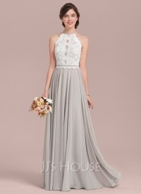 A-Line/Princess Scoop Neck Floor-Length Chiffon Lace ...
