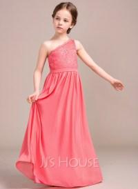 A-Line/Princess One-Shoulder Floor-Length Chiffon Lace ...