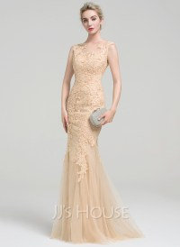 Trumpet/Mermaid Scoop Neck Floor-Length Tulle Lace Evening ...