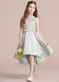 A-Line/Princess Scoop Neck Asymmetrical Satin Junior ...