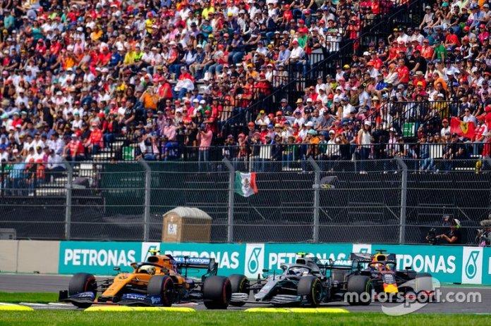 Lando Norris, McLaren MCL34, Valtteri Bottas, Mercedes AMG F1, Max Verstappen, Red Bull Racing RB15