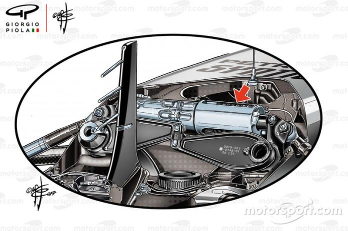 Mercedes AMG F1 W10 front suspension detail
