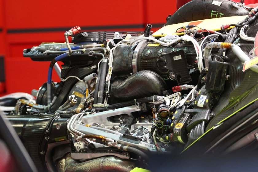 Ferrari SF21, detail of Charles Leclerc's 4 engine equipped with the new hybrid system
