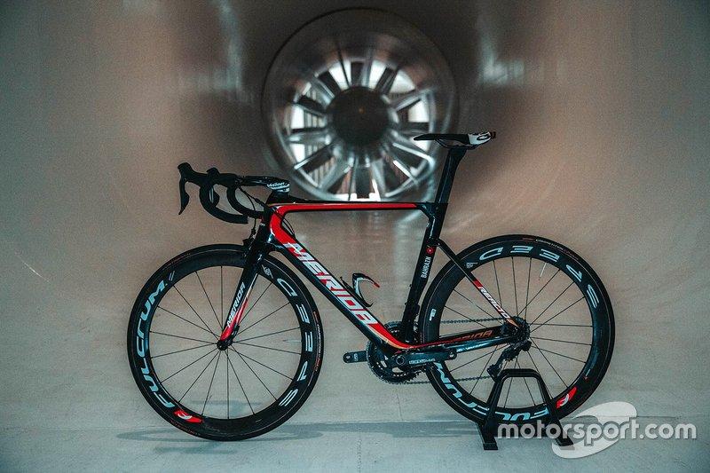 Team Bahrain Merida cycle in the McLaren windtunnel