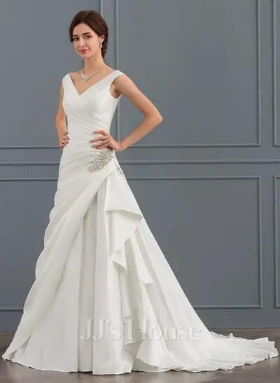 ALinePrincess Vneck Court Train Satin Wedding Dress