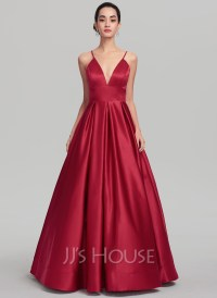 Ball-Gown V-neck Floor-Length Satin Evening Dress ...