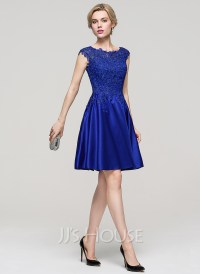 A-Line/Princess Scoop Neck Knee-Length Satin Cocktail ...