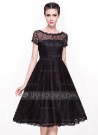 A-Line/Princess Scoop Neck Knee-Length Lace Cocktail Dress ...
