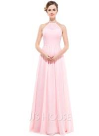 Chiffon Halter-neck Floor-length Bridesmaid Dress ...