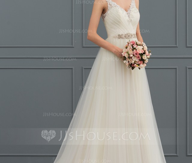 00cff469afb Ball Gown V Neck Sweep Train Tulle Wedding Dress With Beading Pleated Loading  Zoom