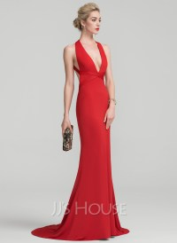 Trumpet/Mermaid V-neck Sweep Train Jersey Evening Dress ...
