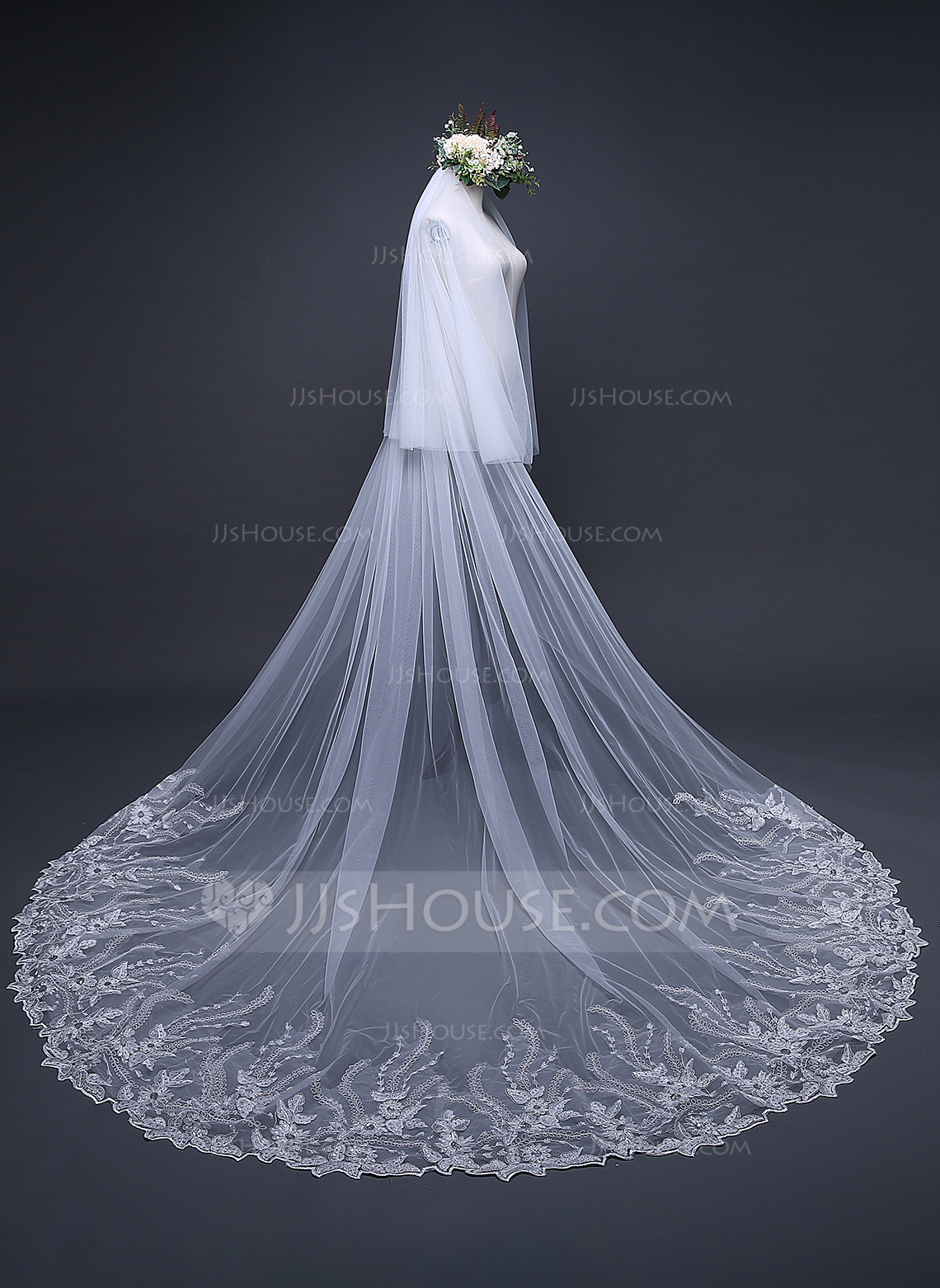 Two Tier Lace Applique Edge Cathedral Bridal Veils With