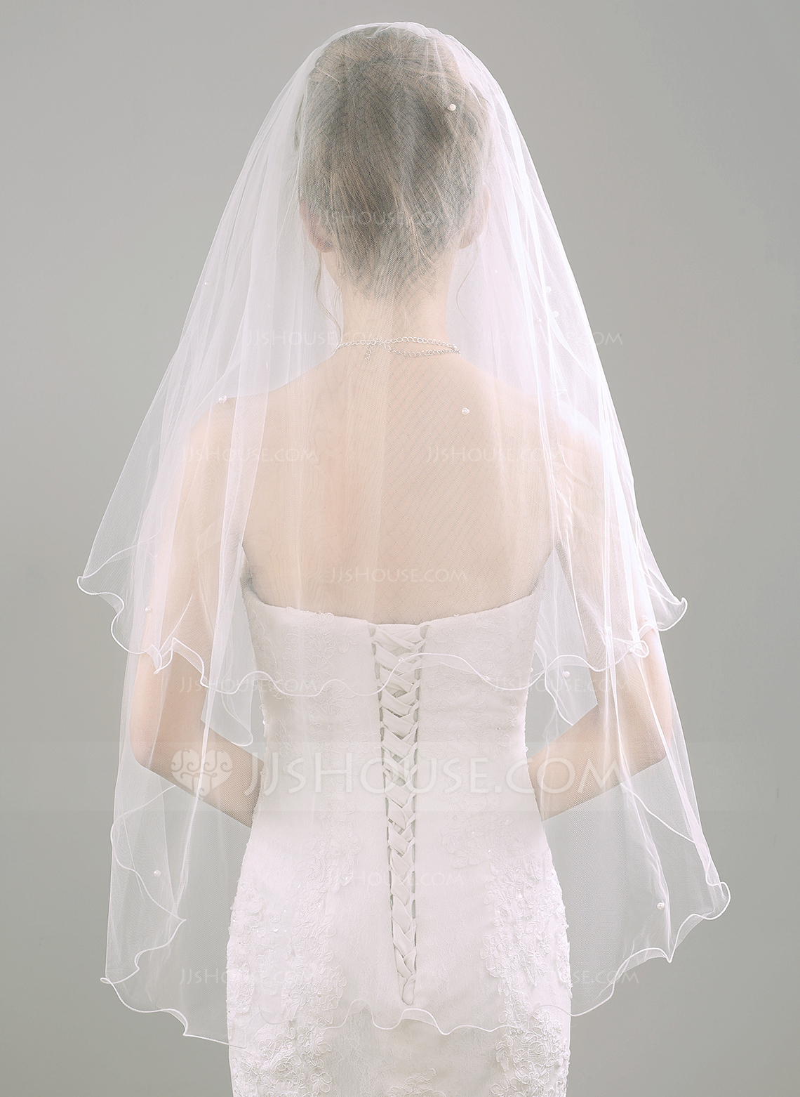 Two Tier Scalloped Edge Fingertip Bridal Veils With Faux