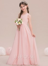 A-Line/Princess V-neck Floor-Length Chiffon Junior ...