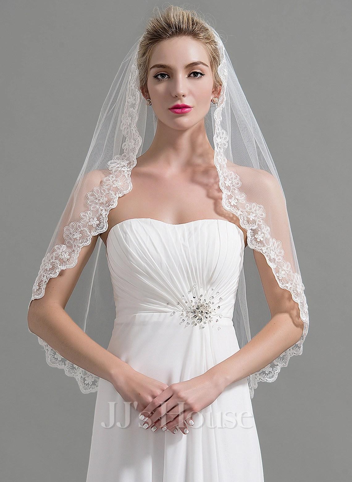 Einschichtig Spitze Saum Fingerspitze Braut Schleier mit