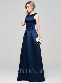 A-Line/Princess Scoop Neck Floor-Length Satin Bridesmaid ...