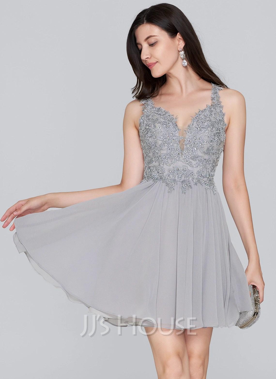 ALinePrincess Sweetheart ShortMini Chiffon Homecoming Dress With Beading Sequins 022124861