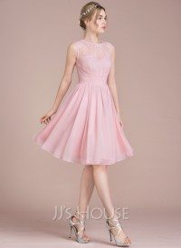 A-Line/Princess Scoop Neck Knee-Length Chiffon Lace ...