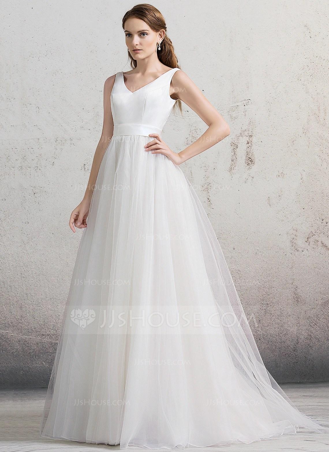 BallGown Vneck Court Train Tulle Wedding Dress