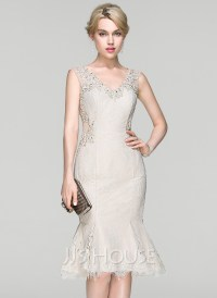 Trumpet/Mermaid V-neck Knee-Length Lace Cocktail Dress ...