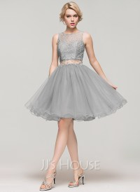 A-Line/Princess Scoop Neck Knee-Length Tulle Lace ...