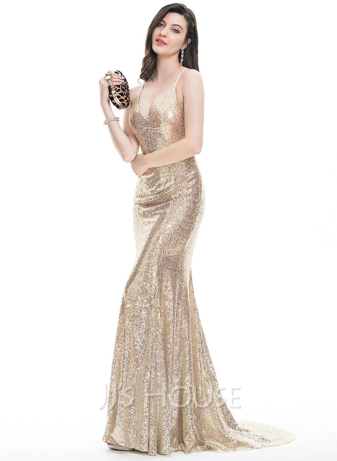 TrumpetMermaid Vneck Sweep Train Sequined Prom Dresses